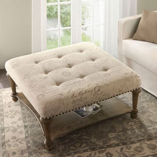 Madison Park Sadie Square Cream Exposed Wood Cocktail Ottoman