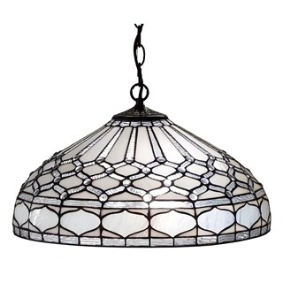 Amora Lighting AM221HL18 White Art Glass 18-inch Tiffany Style Royal White Hanging/Pendant Lamp