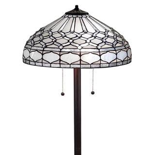 Amora Lighting AM222FL18 White Art Glass 62-inch Tiffany Style Royal White Floor Lamp