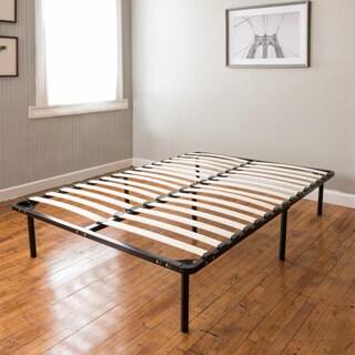 PostureLoft Wood Slat and Metal Platform Full-size Bed Frame and Mattress Foundation