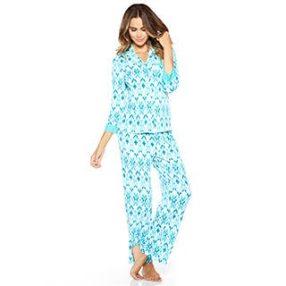 Rhonda Shear Women's Colorful Printed Pajama Set|https://ak1.ostkcdn.com/images/products/P18806561e.jpg?impolicy=medium