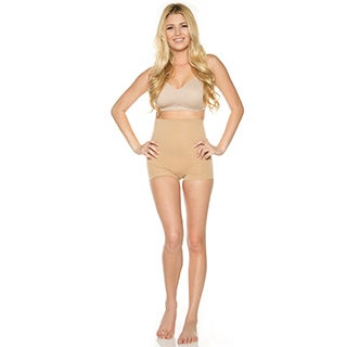 Rhonda Shear Women's Nude/Black Nylon and Spandex High-waist Seamless Shaping Boyshort