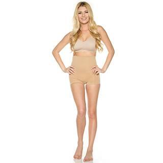 Rhonda Shear Women's Nude/Black Nylon and Spandex High-waist Seamless Shaping Boyshort|https://ak1.ostkcdn.com/images/products/P18806903e.jpg?impolicy=medium