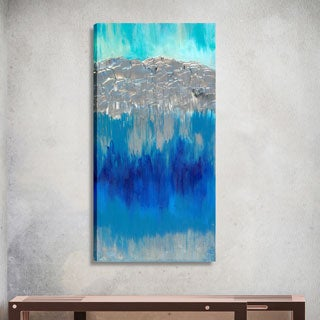 Hobbitholeco. Sanjay Patel, Mountains and Water Abstract, Gel Brush Finish Canvas Wall Art Decor, Gallery Wrapped 20X60