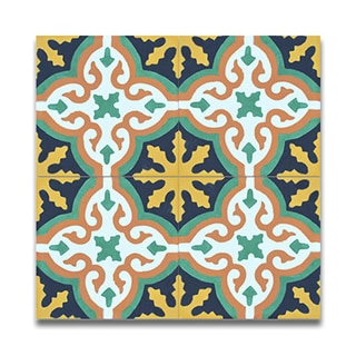 Argana multicolor handmade cement and granite Moroccan tile, 8 Inch X 8 inch floor & wall tile (pack of 12)