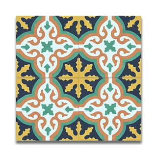 Argana Multicolor Handmade Moroccan 8 x 8 inch Cement and Granite Floor or Wall Tile (Case of 12)