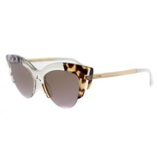Fendi FF 0178 TKW Jungle Hony Crystal Plastic Cat-Eye Sunglasses Brown Gradient Lens