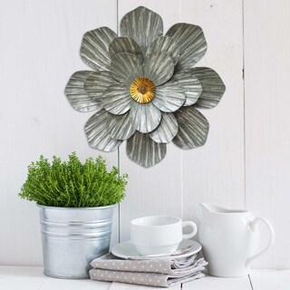 Stratton Home Decor Multicolor Galvanized Metal Flower Wall Decor