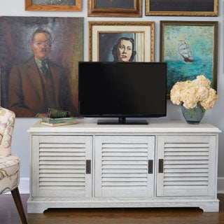 angelo:HOME 60-inch Louvered Door White Wash TV Console