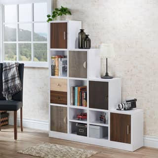 Furniture of America Arla White Multi-storage Staircase Bookcase/Display Shelf|https://ak1.ostkcdn.com/images/products/P18848273a.jpg?impolicy=medium