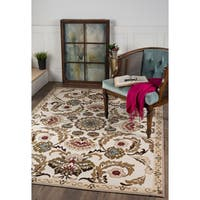 Alise Majolica Beige/ Brown Nylon Transitional Style Area Rug - 5' x 7'