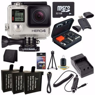 GoPro HERO4 Silver Waterproof Camera 32GB Bundle