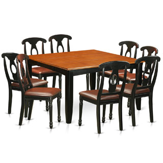 PFKE9-BCH Black/Cherry Rubberwood Dining Table and 8 Solid Chairs