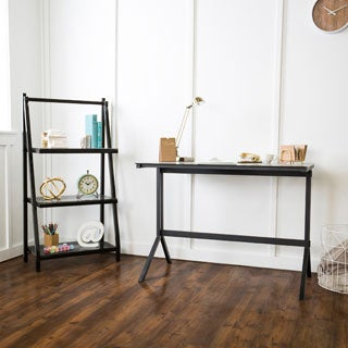 48-inch Smoke/ Black Glass Desk and Shelf Combo