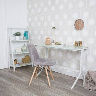 Silver Orchid Linder White Glass Desk and Shelf Combo
