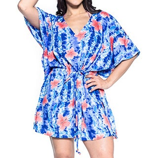 La Leela Hibiscus Robe Soft Likre Beachwear Kaftan Swimwear Bikini Cover up Royal blue