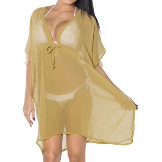 La Leela Beachwear Swimwear Sheer Chiffon Solid One Size Bikini Cover up Kaftan Khaki