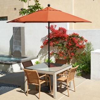 California Umbrella 7.5' Rd. Fiberglass Frame/Rib Commercial Market Umbrella, Push Lift System, Black Finish, Sunbrella Fabric