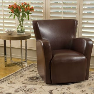 Angelo Bonded Leather Wingback Swivel Club Chair by Christopher Knight Home