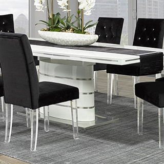 Cavalli Crystal-studded Velvet Dining Chairs with Acrylic Legs (Set of 2)