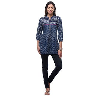 In-Sattva Women's Indian Navy Blue Short Kurta Tunic