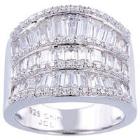 Baguette Cubic Zirconia Saddle-style Silver Ring