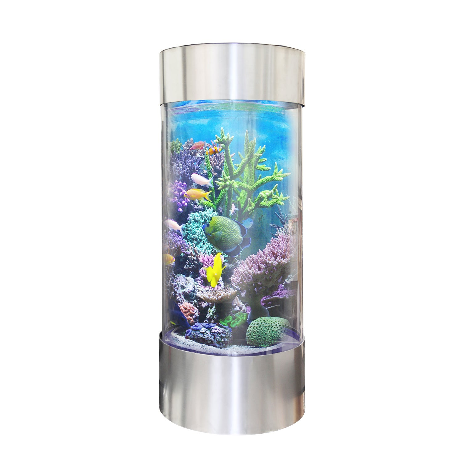 Vapotek 360 Stainless Steel Trim Acrylicand Plastic Cylinder Fish Tank