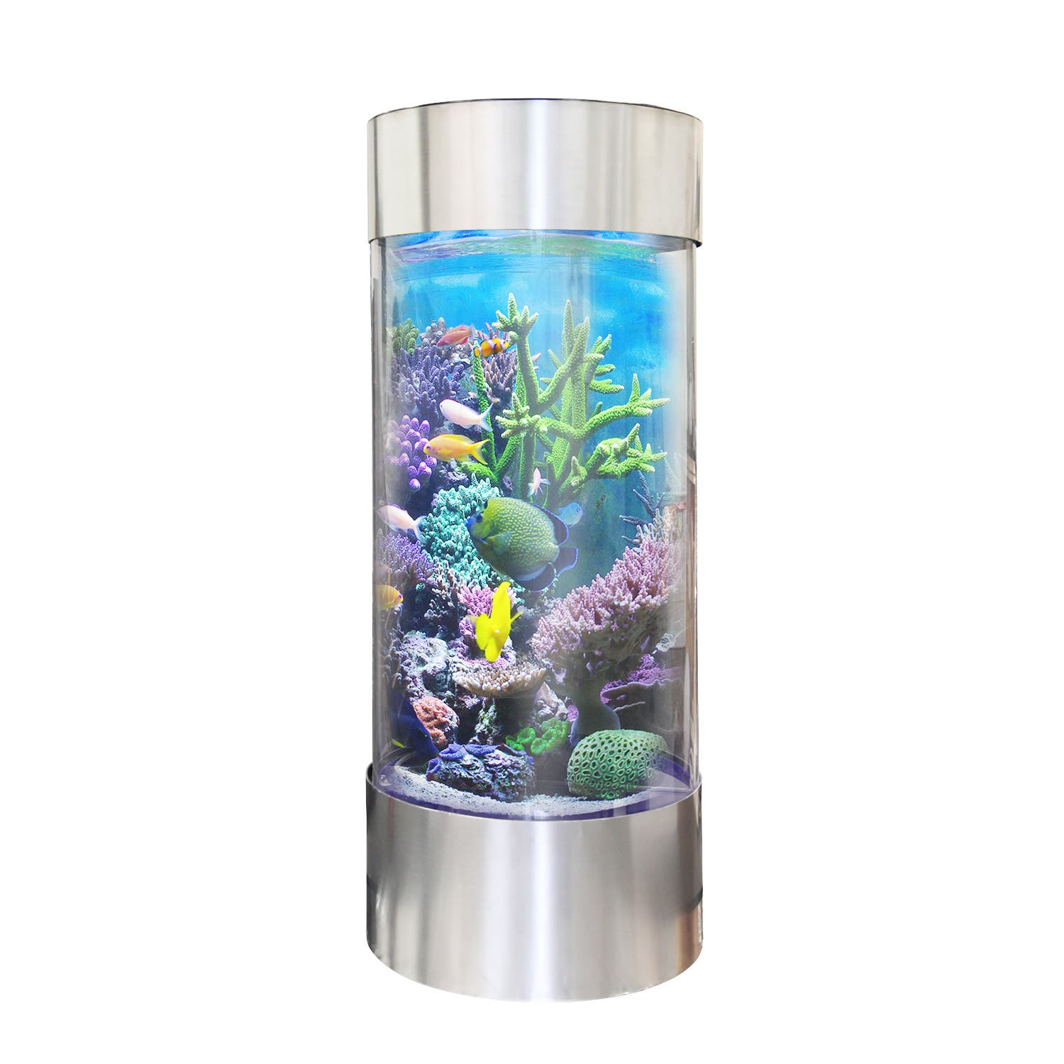 Vapotek 360 Stainless Steel Trim Acrylicand Plastic Cylinder Fish Tank|https://ak1.ostkcdn.com/images/products/P18910224a.jpg?impolicy=medium