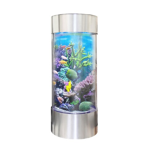 Vapotek 360 Clear Acrylic and Plastic Cylinder Fish Tank with Stainless Steel Trim