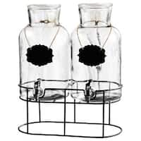 Sierra Chalkboard Glass Beverage Dispenser with Stand (Set of 2)