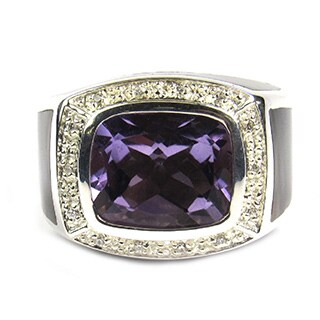Pearl Lustre Unisex Sterling Silver Amethyst Quartz and Mother of Pearl Diamond Accent Ring - Purple (4 options available)
