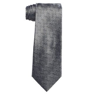 Verno Men's Grey/Black Silk Geometric Handmade Tie