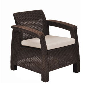 Keter Corfu Brown Rattan All-weather Outdoor Patio Armchair with Cushion