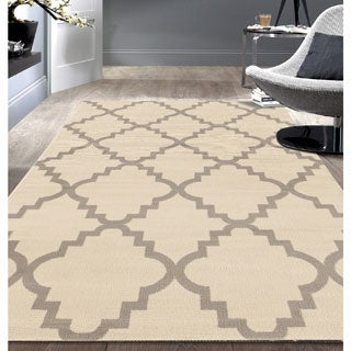 Contemporary Modern Trellis Cream Area Rug (7'6x9'5)