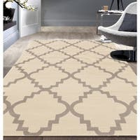 Contemporary Modern Trellis Cream Area Rug - 7'6 x 9'5