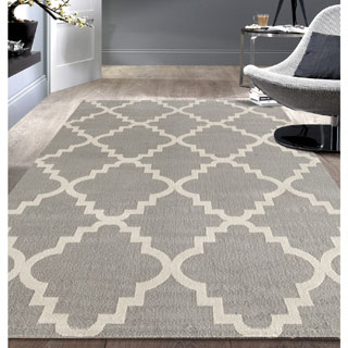 Contemporary Modern Trellis Grey Area Rug (7'6x9'5)