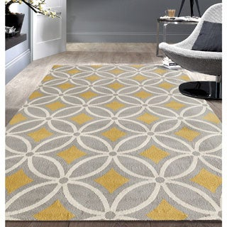 "Contemporary Trellis Chain Grey/ Yellow Area Rug - 7'6"" x 9'5"""