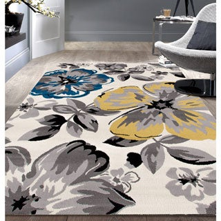 Contemporary Blue/ Yellow Floral Pattern Beige Area Rug (7'6 x 9'5)