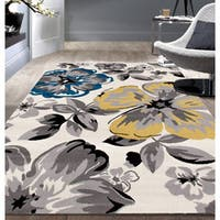 "Modern Floral Circles Cream Area Rug (7'6"" x 9'6"")"