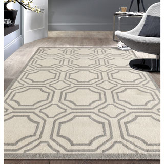 Modern Geometric Cream Area Rug (7'6x9'5)