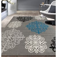Modern Geometric Damask Design Grey Area Rug - 5' x 7'