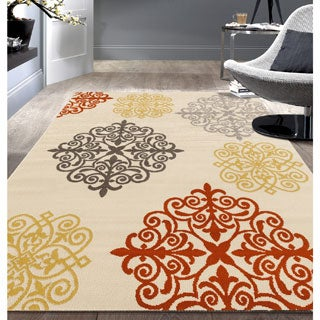 Modern Geometric Damask Design Cream Area Rug (7'6x9'5)