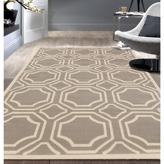 Modern Geometric Grey Area Rug (7'6x9'5) - 7'6 x 9'5
