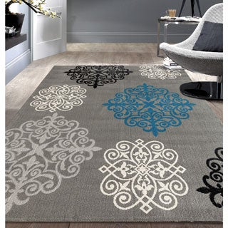Modern Geometric Damask Design Grey Area Rug (7'6x9'5)