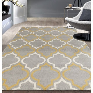 Porch & Den Marigny Spain Trellis Grey/ Yellow Area Rug (7'6 x 9'5)