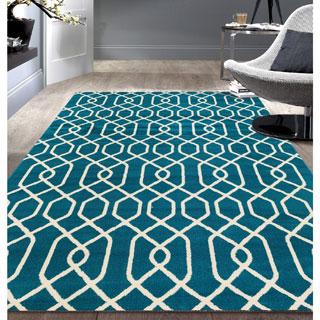 Modern Trellis Pattern Blue Area Rug (7'6 x 9'5)