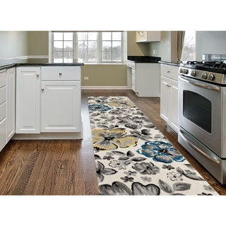 Contemporary Yellow/ Blue Floral Beige Runner Rug (2u0027 X ...
