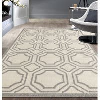 Modern Geometric Cream Area Rug (5'x7') - 5' x 7'