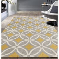 OSTI Trellis Chain Grey/Yellow Contemporary Area Rug (5' x 7')