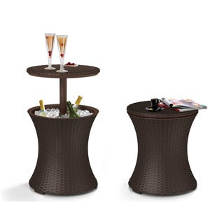 Keter Brown Wicker Rattan Outdoor Patio Deck Pool Cool Bar Ice Cooler Table Furniture
